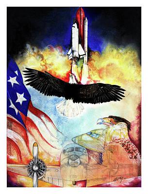 American Flag Mixed Media - Flight by Anthony Burks Sr