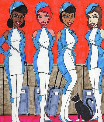 Mascots Mixed Media - Flight Crew 34 by Ronald Woods