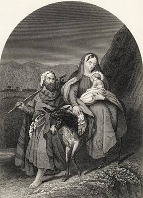 Bible Drawing - Flight Into Egypt From The National by Vintage Design Pics