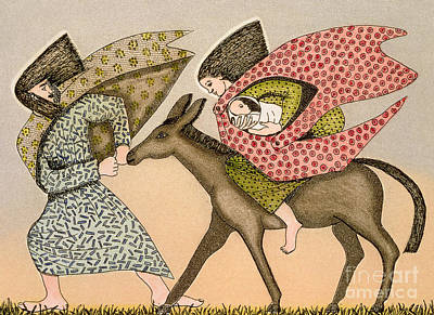 Donkey Drawing - Flight Into Egypt I by Gillian Lawson