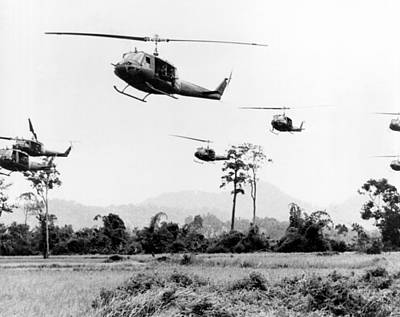 Flight Of Uh-1 Troopships Print by Underwood Archives