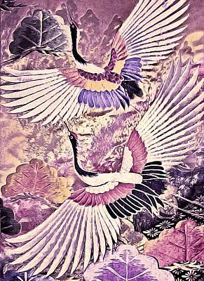 Wildlife Tapestries - Textiles Photograph - Flight Of Lovers - Kimono Series by Susan Maxwell Schmidt