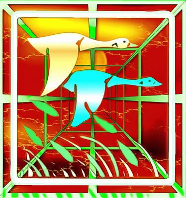 Digital Art - Flight Of The Geese by Mario Carini
