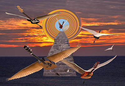 Flying Guitars Mixed Media - Flight Of The Guitars by Eric Kempson