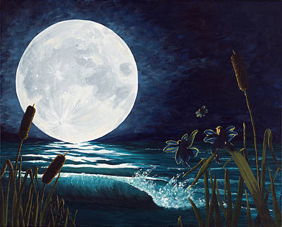 Flight Of The Moon Faries Print by Deborah Ellingwood