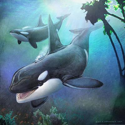 Orca Digital Art - Flight Of The Phoenix Orcas by R christopher Vest