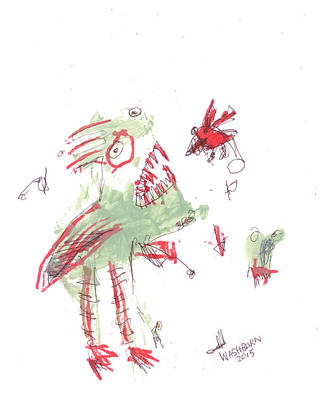 Buzzard Mixed Media - Flightless Bird by William Washburn