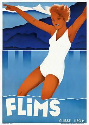 Switzerland Mixed Media - Flims - Switzerland - Restored by Vintage Advertising Posters