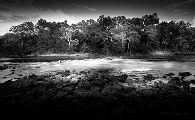 Flint River Rapids B/w Print by Marvin Spates