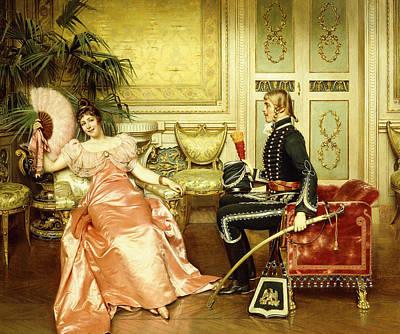 Flirtation Painting - Flirtation by Joseph Frederic Charles Soulacroix