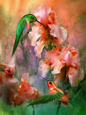 Hummingbird Mixed Media - Flirting So Sweetly by Carol Cavalaris