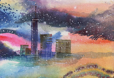 Floating City Print by Anil Nene