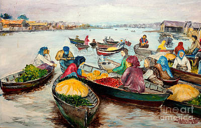 Spinach Painting - Floating Market by Jason Sentuf