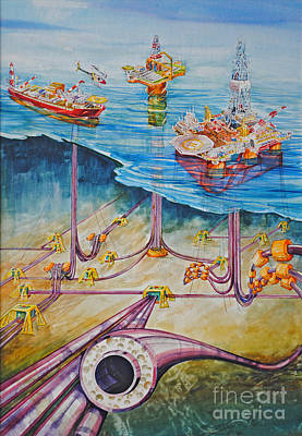 Sea Platform Painting - Floating Pipelines  by P Anthony Visco