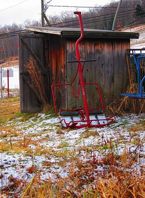 Floating Red Chairlift Print by Sven Migot