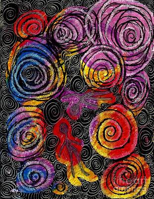 Colorful Abstract Drawing - Floating by Sarah Loft