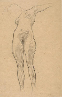 Klimt Drawing - Floating Woman With Outstretched Arm by Gustav Klimt