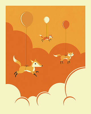 Fox Digital Art - Flock Of Foxes by Jazzberry Blue