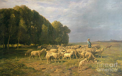 Dog In Landscape Painting - Flock Of Sheep In A Landscape by Charles Emile Jacque