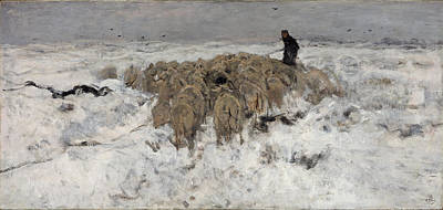 Anton Mauve Painting - Flock Of Sheep With Shepherd In The Snow by Anton Mauve