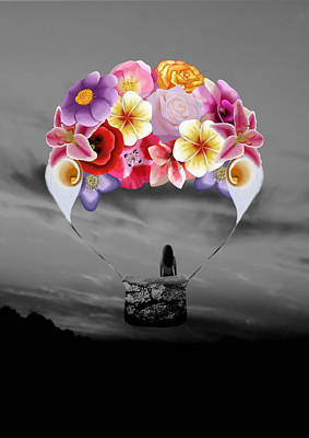Floral Air Balloon Print by Charlotte Jesse