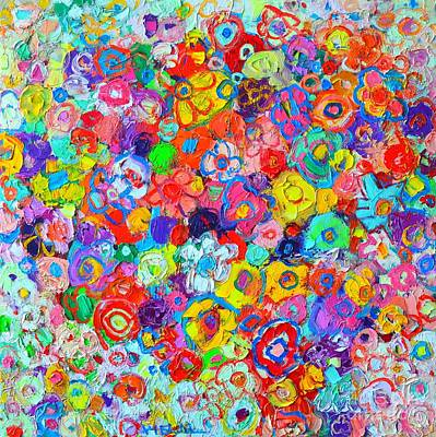 Vivid Colour Painting - Floral Celebration - Abstract Flowers Original Oil Painting by Ana Maria Edulescu