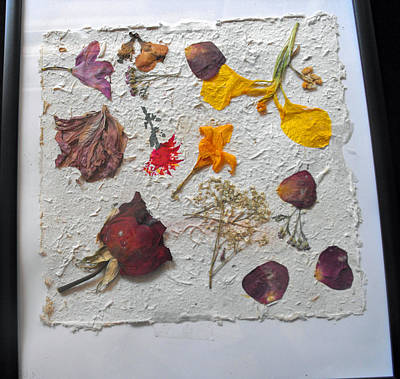 Floral Collage On Mullberry Handmade Paper Print by Mircea Veleanu