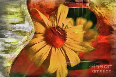 Digital Abstract Painting - Floral Guitar by Deborah Benoit