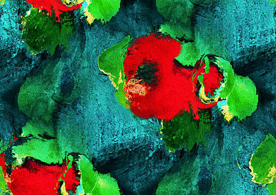 Kiwi Mixed Media - Floral Pattern by Natalie Holland