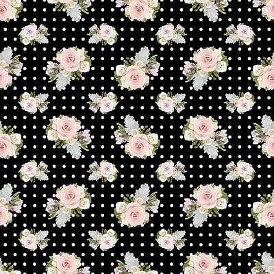 Mix N Match Painting - Floral Rose Cluster W Dot Bedding Home Decor Art by Audrey Jeanne Roberts