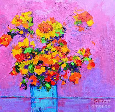 Floral Still Life - Flowers In A Vase Modern Impressionist Palette Knife Artwork Original by Patricia Awapara