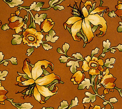 Floral Textile Design Print by English School