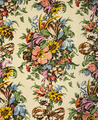 Floral Textile Design Print by Harry Wearne