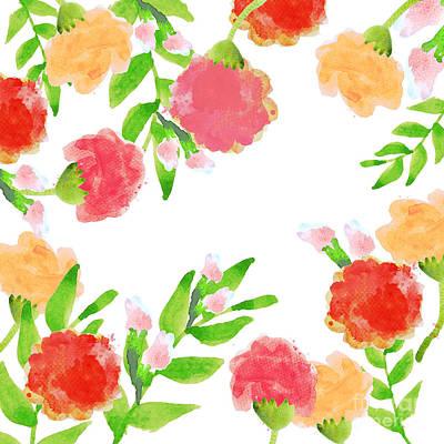 Garden Painting - Floral Watercolor Border  by Rasirote Buakeeree