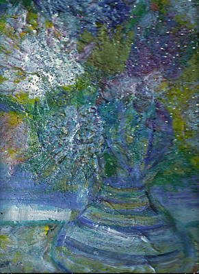 Floral With Cracked Vase Print by Anne-Elizabeth Whiteway