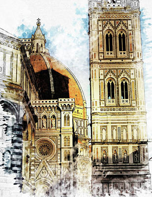 Florence Painting - Florence Dome Architecture 4 - By Diana Van by Diana Van
