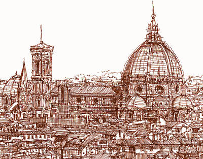 Skyscrapers Drawing - Florence Duomo In Red by Adendorff Design