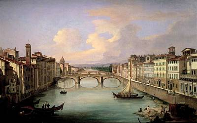 Florence From The Ponte Vecchio Print by Giovanni Signorini