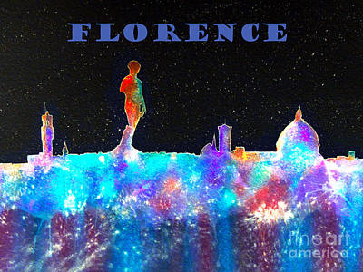 Piazza Mixed Media - Florence Italy Skyline - Blue Banner by Bill Holkham