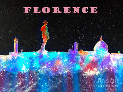 Piazza Mixed Media - Florence Italy Skyline - Mauve Banner by Bill Holkham