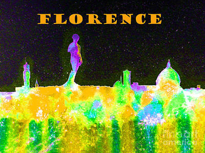 Piazza Mixed Media - Florence Italy Skyline - Orange Banner by Bill Holkham