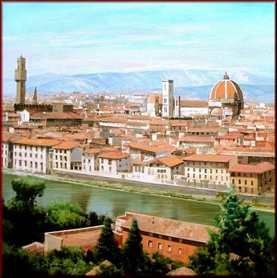 A Summer Evening Landscape Painting - Florence by Massimo Dilecce