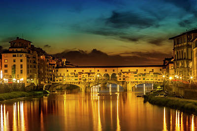 Florence Ponte Vecchio At Sunset Print by Melanie Viola