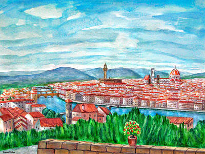 Piazza Painting - Florence by Ronald Haber