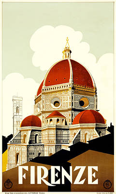 Churches Drawing - Florence Travel Poster by Italian School
