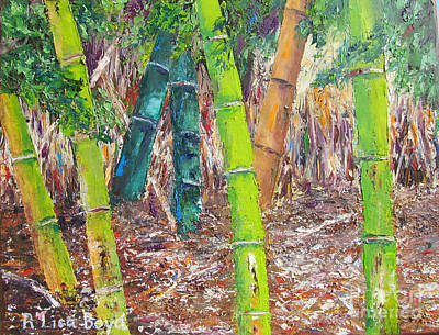 Florida Bamboo By Pallet Knife Print by Lisa Boyd