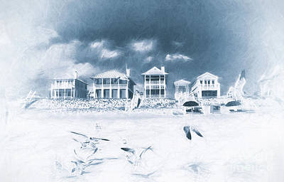 Florida Beach Houses With Birds Flying In The Sand Print by Vizual Studio