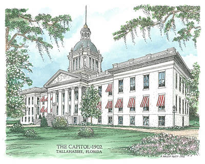 Munroe Drawing - Florida Capitol 1902 by Audrey Peaty