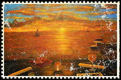Keys Painting - Florida Key's Stamp by Ken Figurski