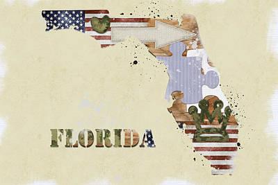 Florida Mixed Media Map Print by Mihaela Pater